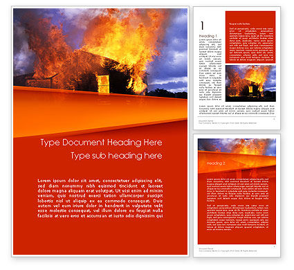 Burning House Word Template, 11648, Careers/Industry — PoweredTemplate.com
