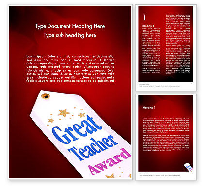 Holiday/Special Occasion: Great Teacher Award Word Template #11662