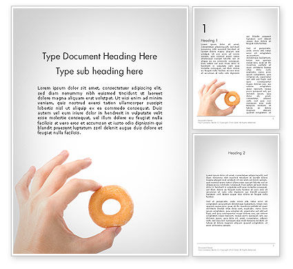 Mini Doughnut Word Template, 11688, Food & Beverage — PoweredTemplate.com