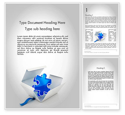 Puzzle Piece in a Box Word Template, 11694, Consulting — PoweredTemplate.com