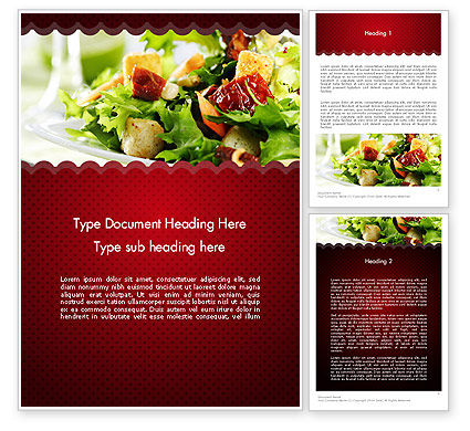 Fresh Salad Word Template, 11699, Food & Beverage — PoweredTemplate.com