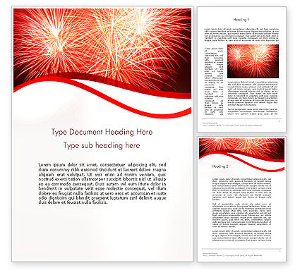 Bright Fireworks Word Template, 11715, Holiday/Special Occasion — PoweredTemplate.com