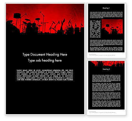 Art & Entertainment: Rock Concert Word Template #11718