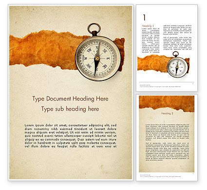 Compass on Parchment Word Template, 11732, Business — PoweredTemplate.com