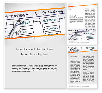 Strategy and Planning Flowchart Theme Word Template, 11742, Business — PoweredTemplate.com