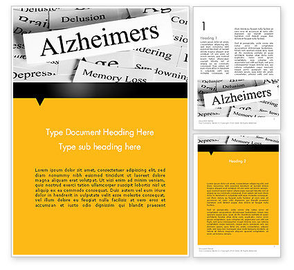 Alzheimer's Disease Word Template, 11744, Medical — PoweredTemplate.com