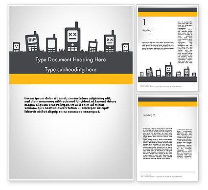 Mobiles Silhouettes Word Template, 11752, Telecommunication — PoweredTemplate.com