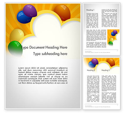 Holiday/Special Occasion: Colored Balloons Word Template #11759