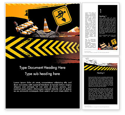 Construction: Concept of Road Works Word Template #11766