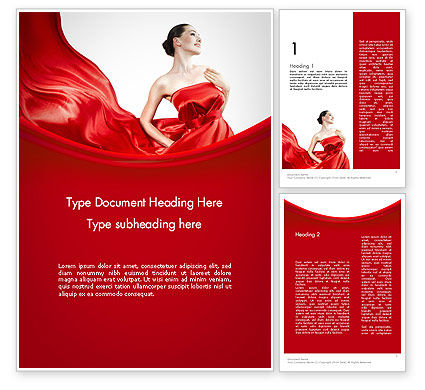 Woman in Red Word Template, 11770, People — PoweredTemplate.com