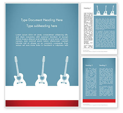 Three Guitars Word Template, 11771, Art & Entertainment — PoweredTemplate.com