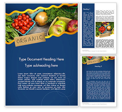 Organic Foods Word Template, 11787, Food & Beverage — PoweredTemplate.com