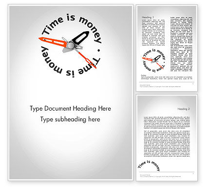 Financial/Accounting: Time is Money Clock Word Template #11807