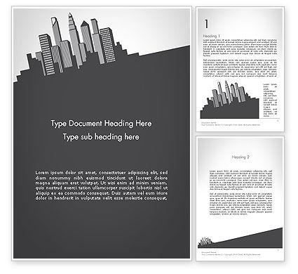 Construction: Downtown Silhouette Word Template #11811