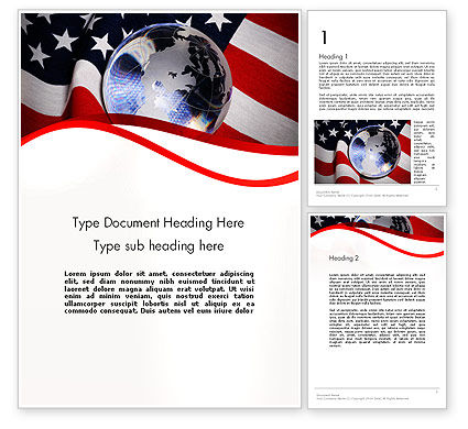 America: Globe and USA Flag Word Template #11843