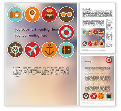 Tourism Flat Icons Word Template, 11863, Careers/Industry — PoweredTemplate.com