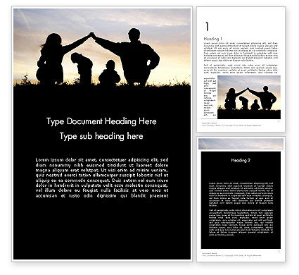 People: Family Silhouette Word Template #11872