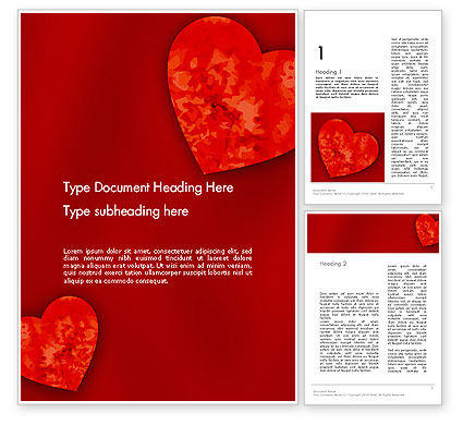 Pair of Hearts Word Template, 11886, Holiday/Special Occasion — PoweredTemplate.com