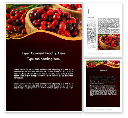 Cranberries Word Template, 11888, Food & Beverage — PoweredTemplate.com