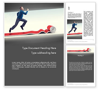 Careers/Industry: Man Running On Rolling Red Carpet Word Template #11891