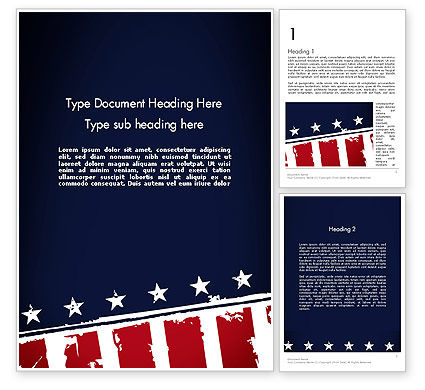 America: USA Flag Theme Word Template #11920