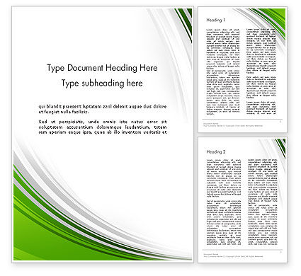 Abstract/Textures: Green and Gray Curves Word Template #11938