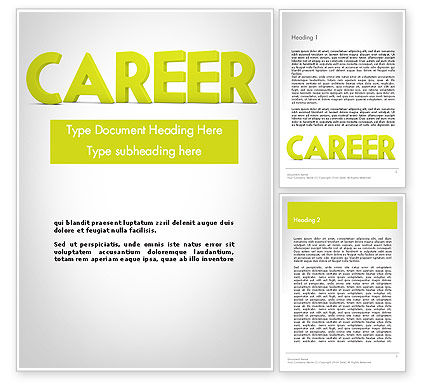 Careers/Industry: Word CAREER Word Template #11947
