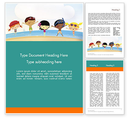 Summer Fun Word Template, 11950, Education & Training — PoweredTemplate.com