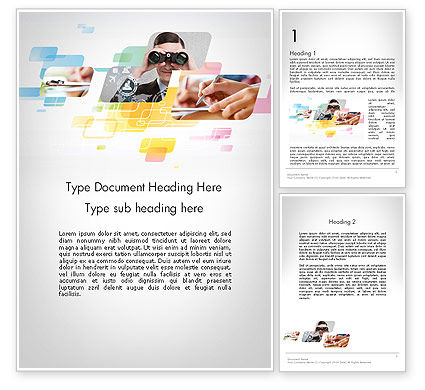 Abstract Business Theme Word Template, 11955, Business — PoweredTemplate.com