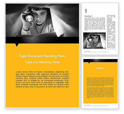 Reading Under Covers Word Template, 11958, Education & Training — PoweredTemplate.com