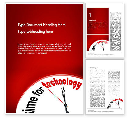 Time for Technology Word Template, 11960, Technology, Science & Computers — PoweredTemplate.com