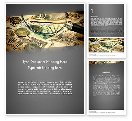 Financial/Accounting: Pile of Old European Money Word Template #11978