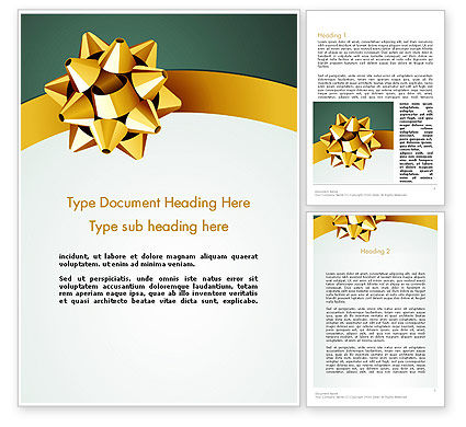 Gold Ribbon Word Template, 11979, Holiday/Special Occasion — PoweredTemplate.com