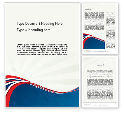America: Patriotic Themed Word Template #11983