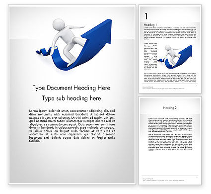 Business Concepts: Surfing On Arrow Of Success Word Template #11985