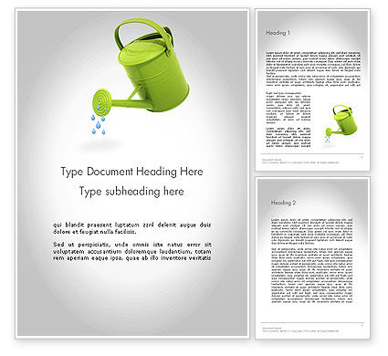 Watering Can Pouring Water Word Template, 11986, Business Concepts — PoweredTemplate.com