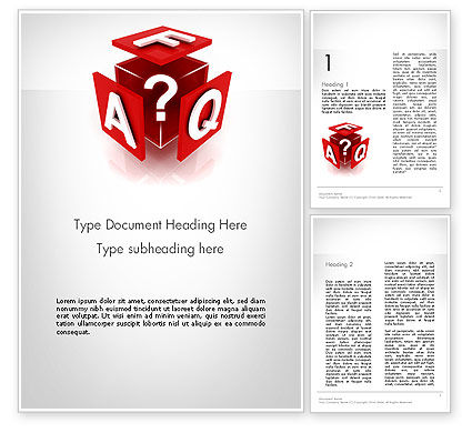 FAQ Cube Word Template 11987 | PoweredTemplate.com