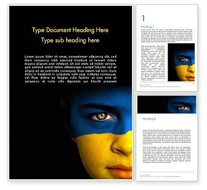 Flag of Ukraine Word Template, 11993, Flags/International — PoweredTemplate.com