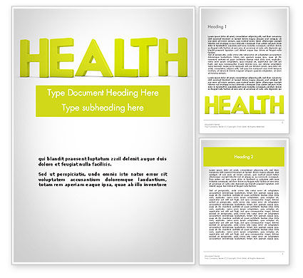 Medical: Word HEALTH Word Template #11995