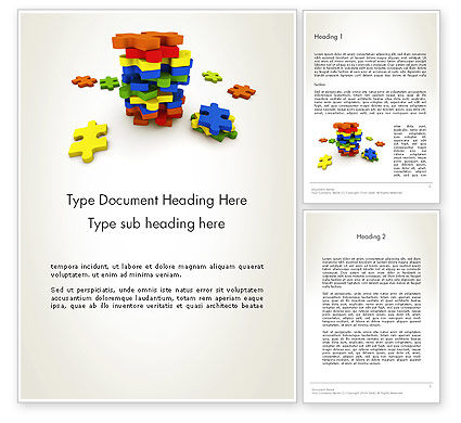 Pile of Puzzle Pieces Word Template, 12001, Business Concepts — PoweredTemplate.com