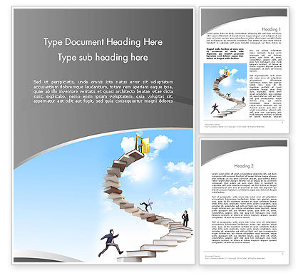 People On Book Stair Word Template, 12008, Education & Training — PoweredTemplate.com
