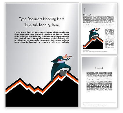 Education & Training: Businessman Climbing Graph Word Template #12017