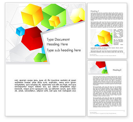 Abstract/Textures: Colorful Cubes Word Template #12021