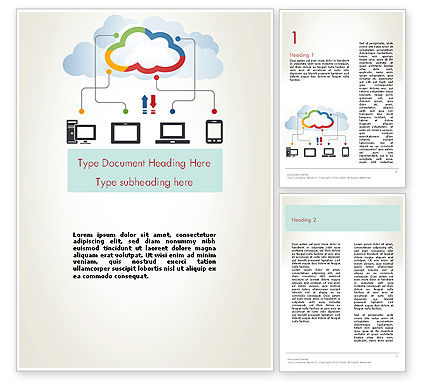 Cloud File Exchange Word Template, 12027, Technology, Science & Computers — PoweredTemplate.com
