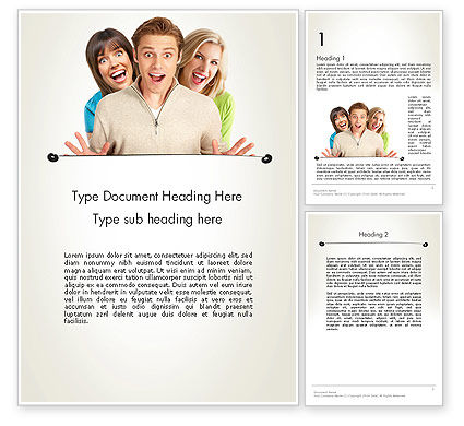 Young Happy People Word Template, 12031, People — PoweredTemplate.com