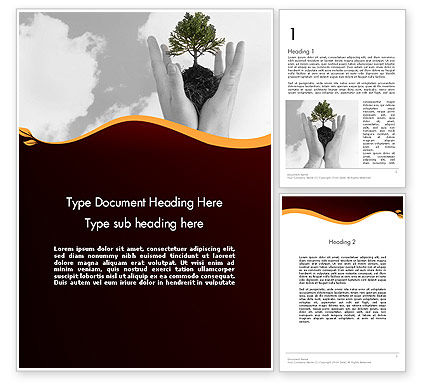 Education & Training: Hands Holding a Bonsai Plant Word Template #12036