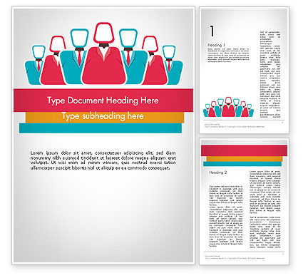 Co Workers Illustration Word Template, 12044, Business — PoweredTemplate.com