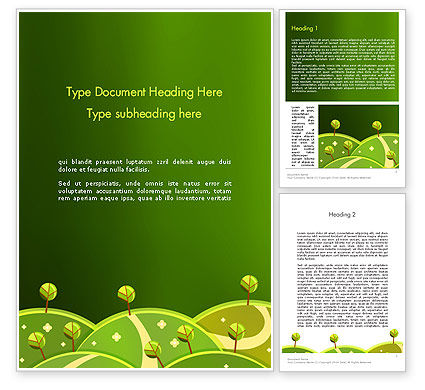 Nature & Environment: Green Meadows Word Template #12061