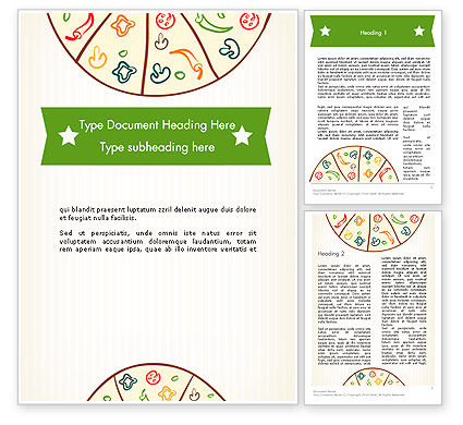 Pizza Illustration Word Template, 12068, Food & Beverage — PoweredTemplate.com