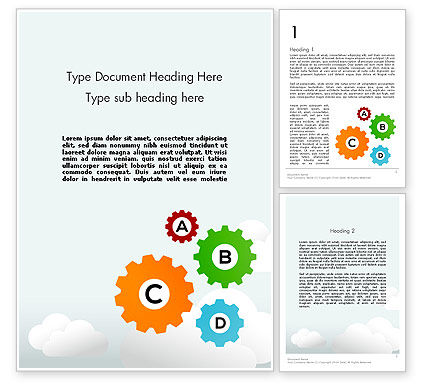 Colorful Cogs Word Template, 12075, Education & Training — PoweredTemplate.com